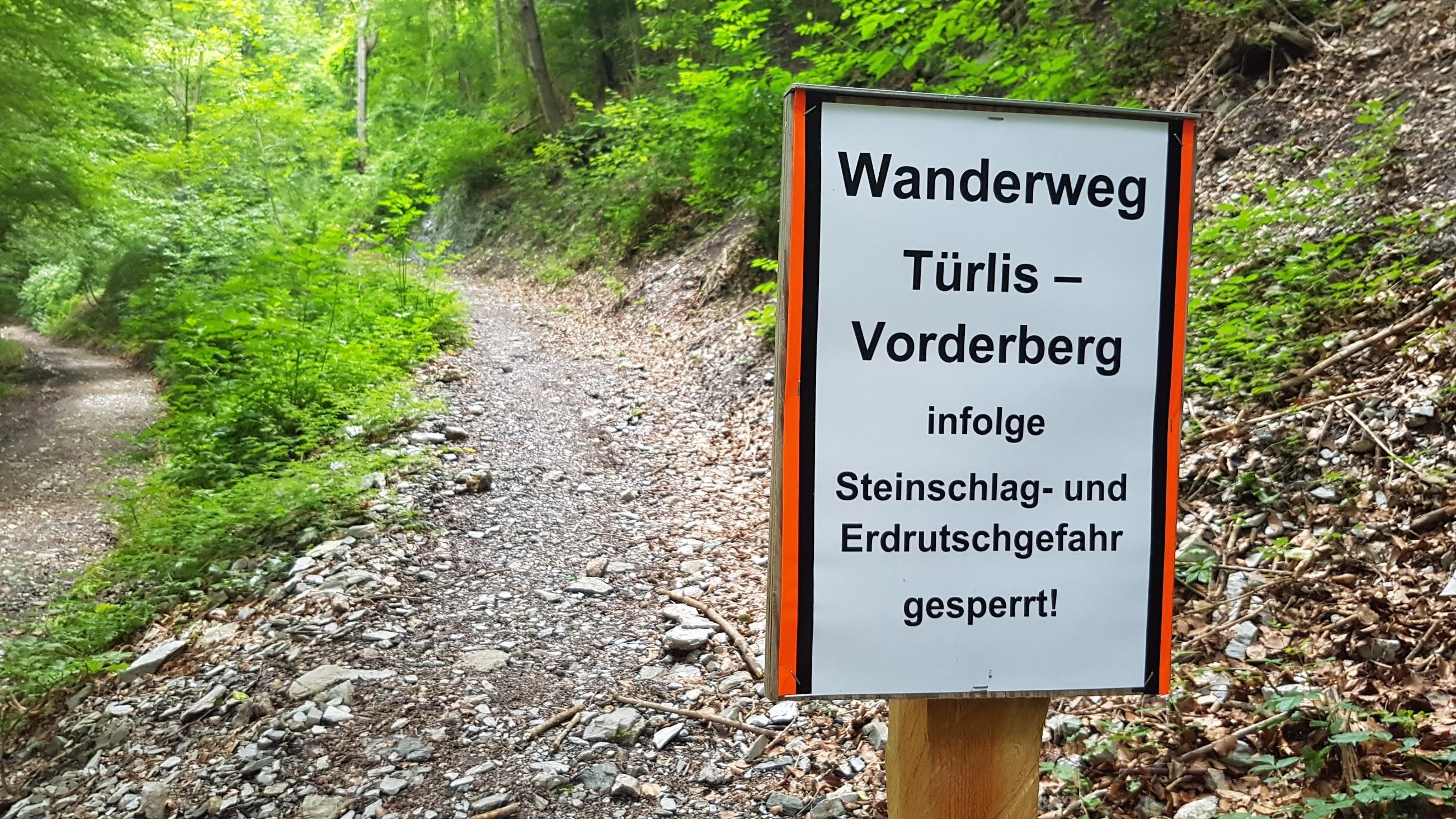 Weg zum Regitzer Spitz via Türlisweg gesperrt